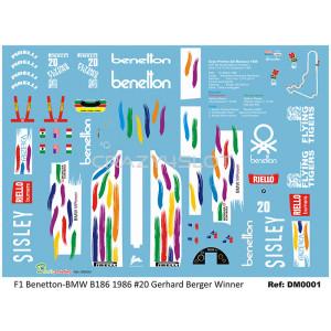 Decals F1 Benetton-BMW B186 G.Berger n.20